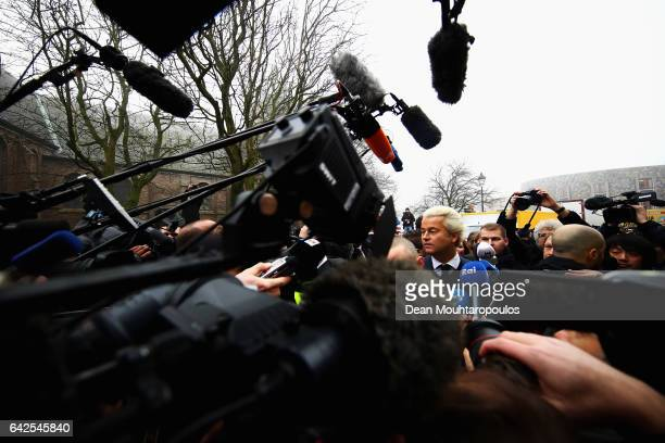 Candidate Geert Wilders speaks to the crowd the media and shakes hands with supporters as he kicks off his election campaign near the Dorpskerk on...