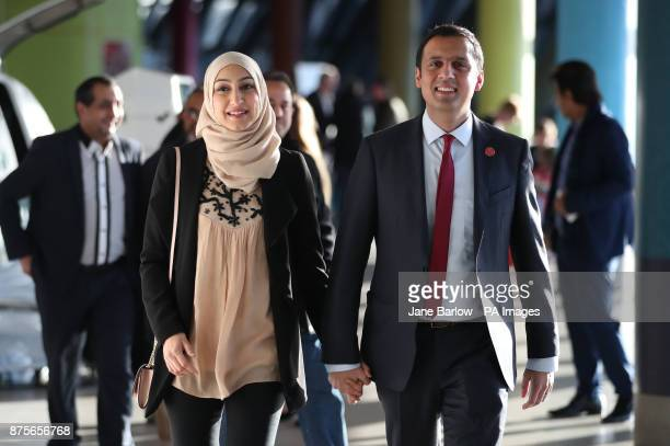 Candidate Glasgow MSP Anas Sarwar arrives with his wife Furheen at the Glasgow Science Centre where the announcement for the new leader of Scottish...