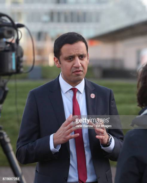 Candidate Glasgow MSP Anas Sarwar speaks to the media outside Glasgow Science Centre after being beaten in the Scottish Labour leadership contest by...