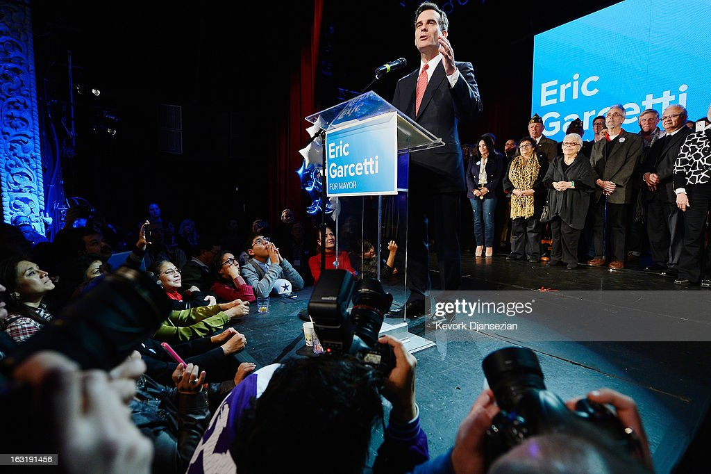 Candidate in the Los Angeles City mayoral race, Councilman Eric Garcetti speaks to supporters at an election night party on March 5, 2013 in Los Angeles, California. Garcetti and Los Angeles City Controller Wendy Greuel are locked in a close tie for the lead in the Los Angeles mayoral primary. The top two vote getters will face each other in a run-off election in May.
