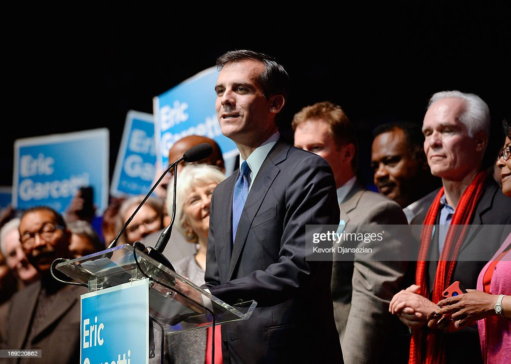 Candidate in the Los Angeles City mayoral race, Councilman Eric Garcetti speaks to supporters at an election night party at The Hollywood Palladium on May 21, 2013 in the Silver Lake area of Los Angeles, California. Early results suggest that Garcetti is leading against Los Angeles City Controller Wendy Greuel for the seat held by two-term Antonio Villaraigosa.