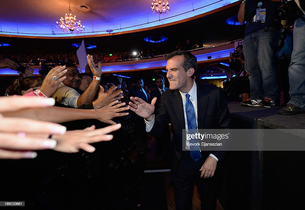 Candidate in the Los Angeles City mayoral race, Councilman Eric Garcetti celebrates with supporters at an election night party at The Hollywood Palladium on May 21, 2013 in the Silver Lake area of Los Angeles, California. Early results suggest that Garcetti is leading against Los Angeles City Controller Wendy Greuel for the seat held by two-term Antonio Villaraigosa.