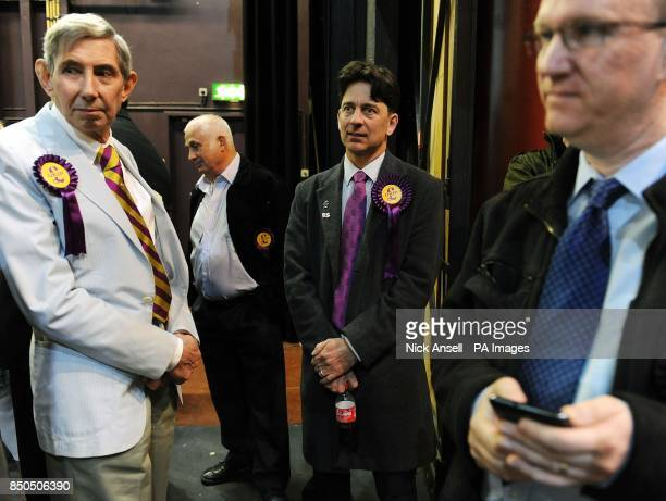 UKIP candidate Mark Ellis who won the Laindon Park and Fryerns ward at the Towngate Theatre in Basildon Essex during the local elections count and...