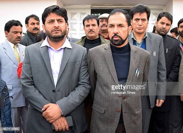 PDP candidate Nazir Lawayand Fayaz Mir before filing his nomination for Rajya Sabha seat at Secretariat on January 28 2015 in Jammu India On the last...