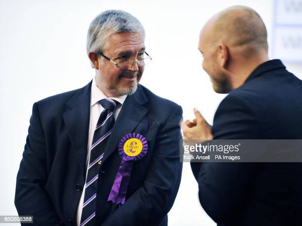UKIP candidate Nigel Le Gresley who won the Wickford Crouch ward at the Towngate Theatre in Basildon Essex during the local elections count and...