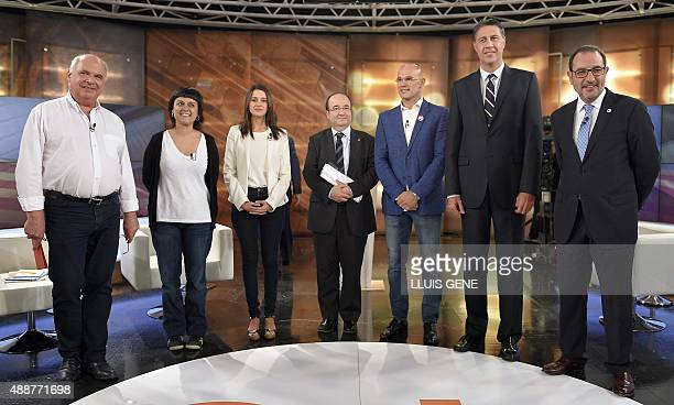 Candidate of Catalunya Si que es Pot Lluis Rabell candidate of CUP Anna Gabriel candidate of the Ciutadans party Ines Arrimadas candidate of Catalan...