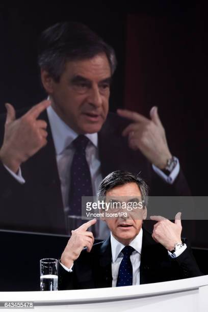 Candidate of Les Republicains right wing Party for the 2017 French Presidential Election Francois Fillon delivers a speech during a conference at the...