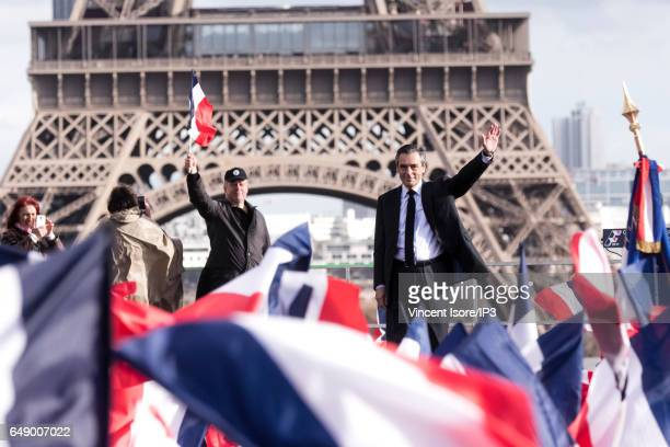 Candidate of Les Republicains right wing Party for the 2017 French Presidential Election Francois Fillon delivers a speech during a demonstration he...