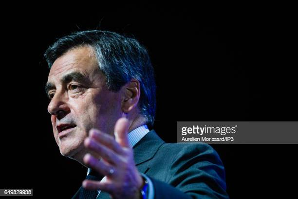 Candidate of Les Republicains right wing Party for the 2017 French Presidential Election Francois Fillon delivers a speech during a meeting on March...