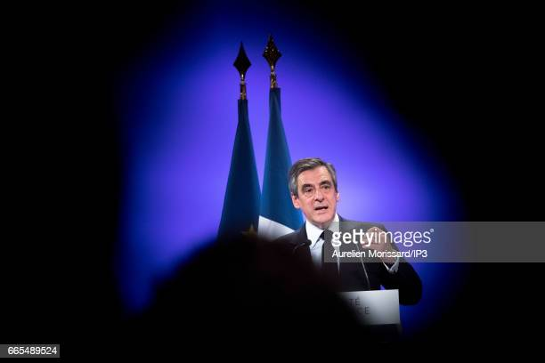 Candidate of Les Republicains right wing Party for the 2017 French Presidential Election Francois Fillon delivers a speech during his meeting on...