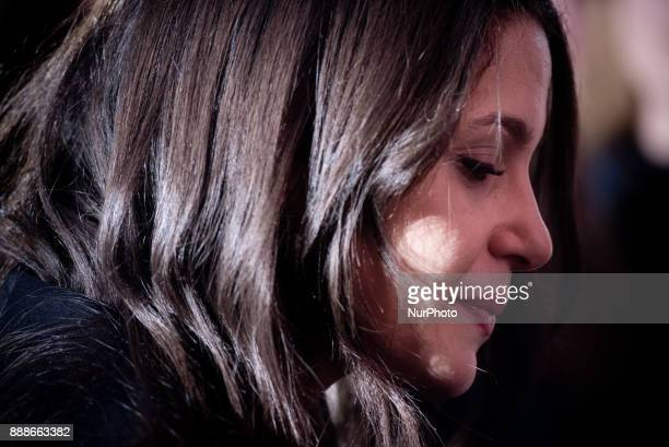 Candidate of the Ciutadans party Ines Arrimadas attends the media during a visit to a Ciudadanos election campaign stand on 8 December 2017 in...