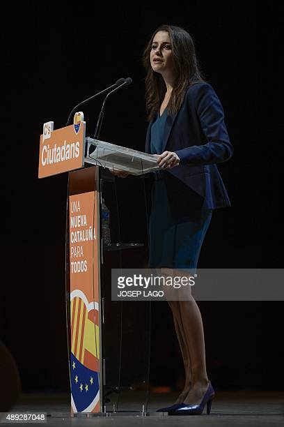Candidate of the Ciutadans political party Ines Arrimadas speaks during a campaign meeting for the upcoming Catalan regional elections in Barcelona...