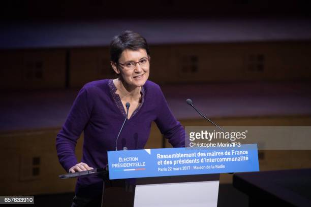 Candidate of the 'Lutte Ouvriere' Party for the 2017 French Presidential Election Nathalie Arthaud delivers a speech during a gathering of the...