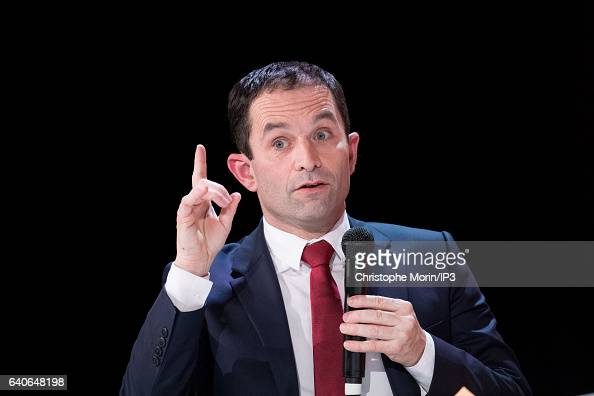 Candidate of the Socialist Party for the 2017 French Presidential Election Benoit Hamon delivers a speech during a presentation of the 22nd report on...
