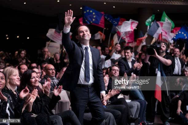 Candidate of the Socialist Party for the 2017 French Presidential Election Benoit Hamon attends his National Investiture Convention at the Maison de...