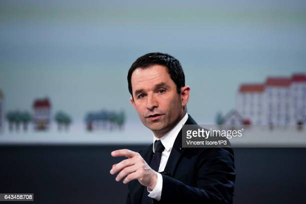 Candidate of the Socialist Party for the 2017 French Presidential Election Benoit Hamon delivers a speech during a conference at the Palais...