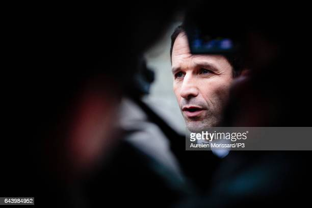 Candidate of the Socialist Party for the 2017 French Presidential Election Benoit Hamon is visiting the Shoah Memorial on February 21 2017 in Paris...