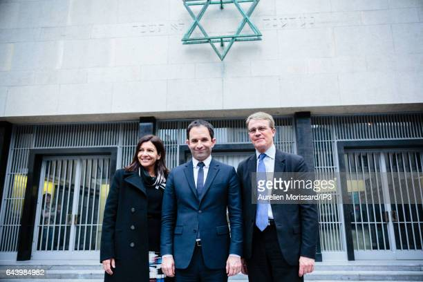 Candidate of the Socialist Party for the 2017 French Presidential Election Benoit Hamon Mayor of Paris Anne Hidalgo and French Deputy Patrick Bloche...