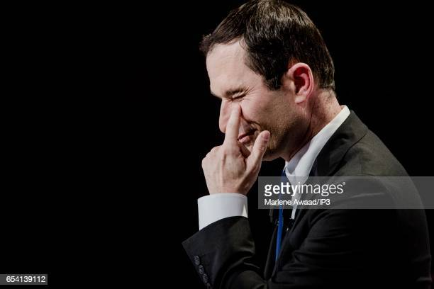 Candidate of the Socialist Party for the 2017 French Presidential Election Benoit Hamon holds a meeting to present his political program on March 16...