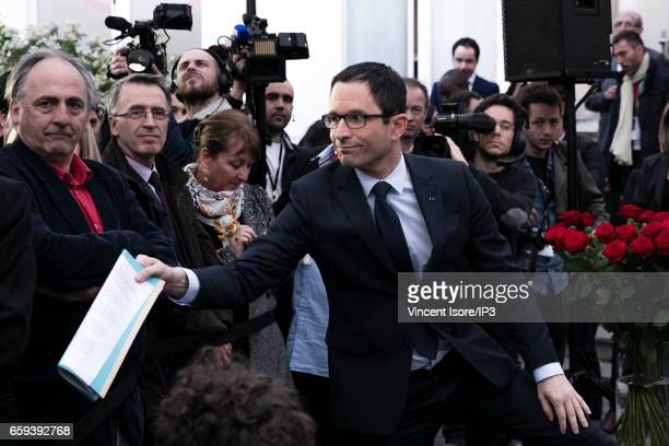 Candidate of the Socialist Party for the 2017 French Presidential Election Benoit Hamon came to pay a last tribute to Henri Emmanuelli at the...