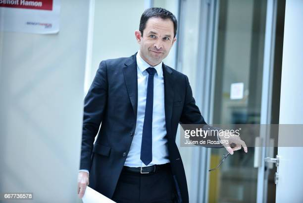 Candidate of the Socialist Party for the 2017 French Presidential Election Benoit Hamon holds a press conference to present the reforms he would make...