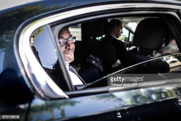 Candidate of the Socialist Party for the 2017 French Presidential Election Benoit Hamon attends a Landes race on April 17 2017 in Aignan France...