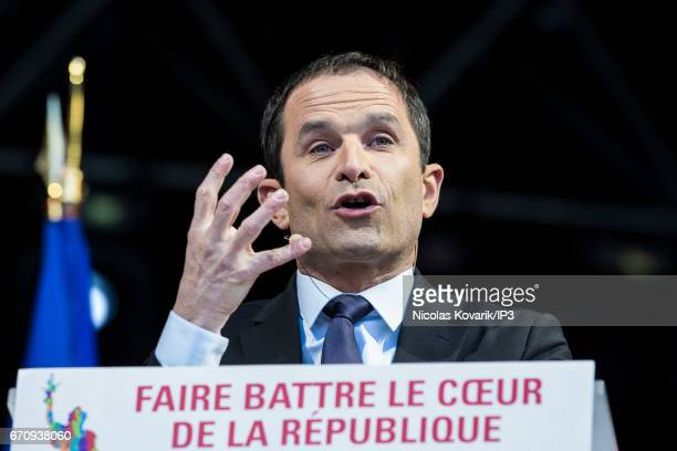 Candidate of the Socialist Party for the 2017 French Presidential Election Benoit Hamon holds a meeting at Place de la Republique on April 19 2017 in...