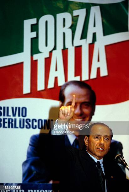 Candidate Prime Minster Silvio Berlusconi holds a speech on March 11 1994 in Rome Italy