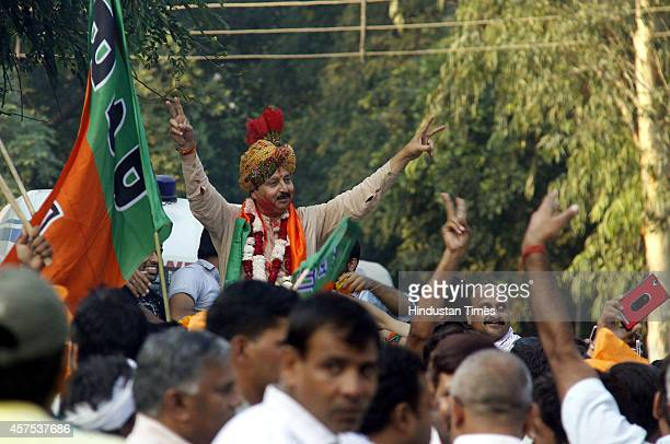 BJP candidate Rao Narbir Singh celebrate with supporters after his victory in Badshapur Assembly election on October 19 2014 in Gurgaon India BJP won...