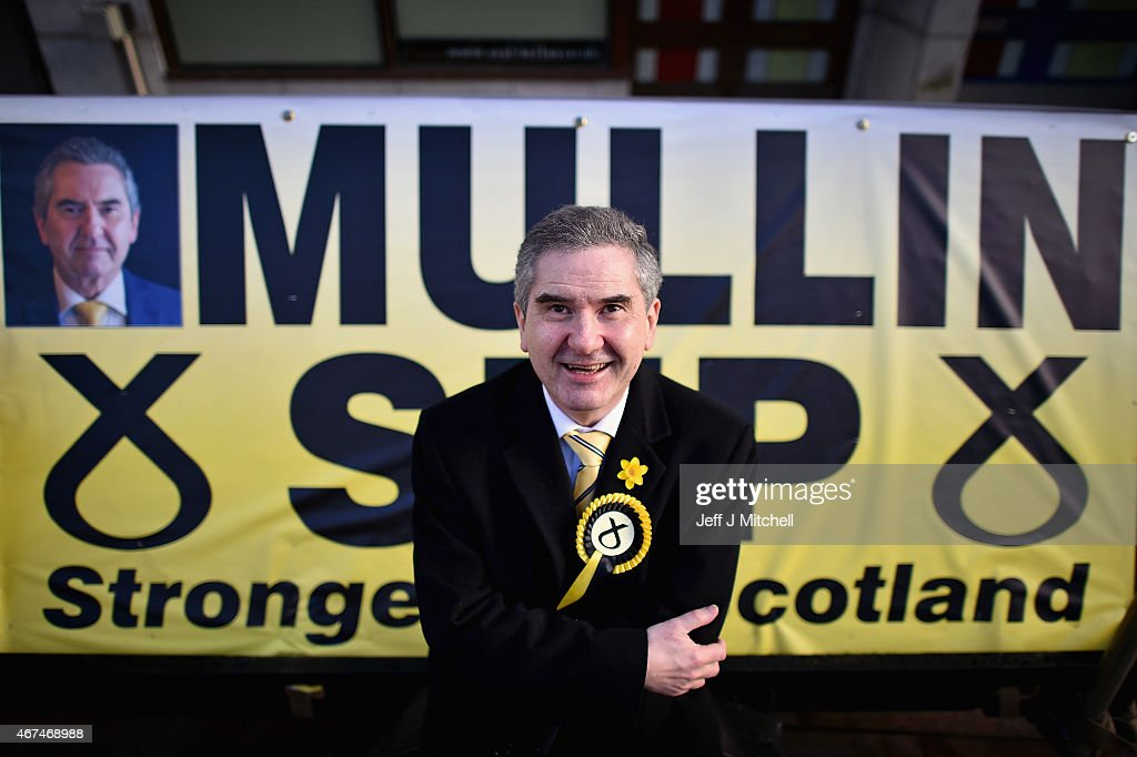 SNP candidate Roger Mullin, opens a general election campaign shop in the constituency of former prime minister Gordon Brown on March 24, 2015 in Kirkcaldy, Scotland. According to a poll from Lord Ashcroft, Labour is set to lose Gordon Brown's current seat with as much as a 28% swing to the SNP.