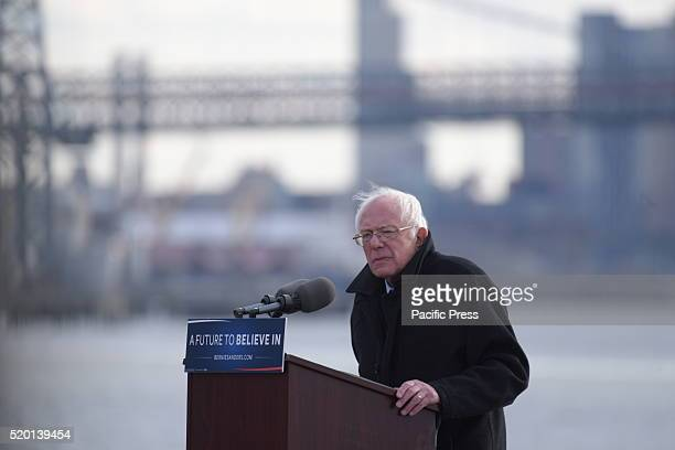 Candidate Sanders shares vision for the future with East River in the background Senator Bernie Sanders addressed a rally in Greenpoint Brooklyn's...