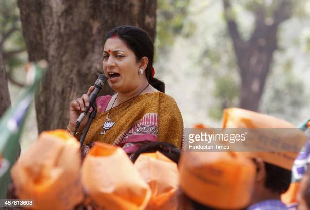 BJP candidate Smriti Irani from Amethi constituency during the public meeting on May 1 2014 in Amethi India Smriti Irani is pitted against sitting MP...