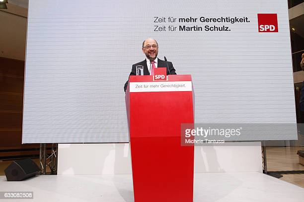 Candidate to the Chancellory and former EU parliament President Martin Schulz speaks during a Press conference after the Party Board meeting in the...