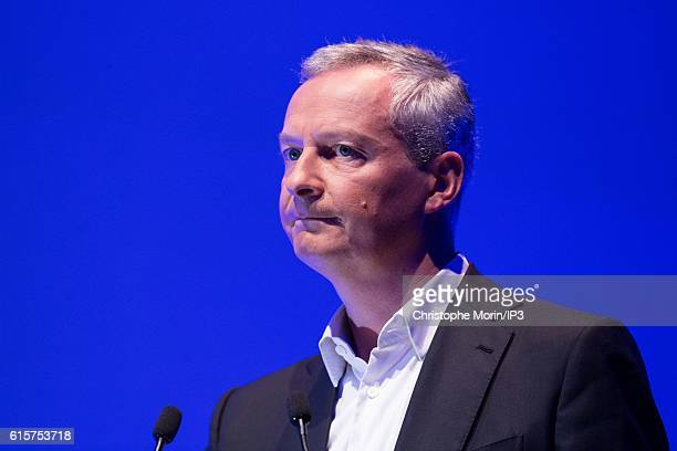 Candidate to the Primary Election of right wing to the Presidential Election 2017 Bruno Le Maire delivers a speech before 600 business leaders during...