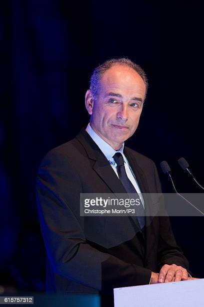 Candidate to the Primary Election of right wing to the Presidential Election 2017 Jean Francois Cope delivers a speech before 600 business leaders...