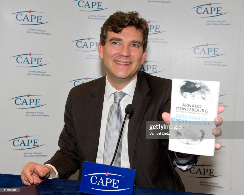 Candidate to the primary elections of French Socialist Party <a gi-track='captionPersonalityLinkClicked' href=/galleries/search?phrase=Arnaud+Montebourg&family=editorial&specificpeople=588268 ng-click='$event.stopPropagation()'>Arnaud Montebourg</a> presents his book at a press conference at the Centre d'Accueil de la Presse Etrangere on May 31, 2011 in Paris, France. <a gi-track='captionPersonalityLinkClicked' href=/galleries/search?phrase=Arnaud+Montebourg&family=editorial&specificpeople=588268 ng-click='$event.stopPropagation()'>Arnaud Montebourg</a> called the conference to explain his project for deglobalization of the economy, in order to stop the delocalizations and the decrease of salaries.