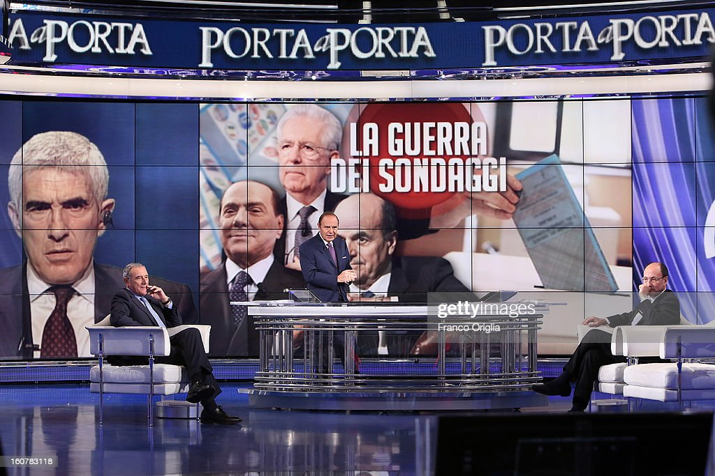 Candidate with PD (Democratic Party) for the next political elections (PD) Pietro Grasso, tv conductor Bruna Vespa and President of the Italian Senate <a gi-track='captionPersonalityLinkClicked' href=/galleries/search?phrase=Renato+Schifani&family=editorial&specificpeople=4851265 ng-click='$event.stopPropagation()'>Renato Schifani</a> attend 'Porta a Porta' TV talk show on February 5, 2013 in Rome, Italy. National Elections in Italy are scheduled for February 24.