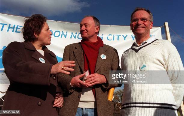 Candidates for London Mayor Liberal Democrat Susan Kramer Ken Livingstone and Jeffery Archer take time out to chat during the London North City Walk...