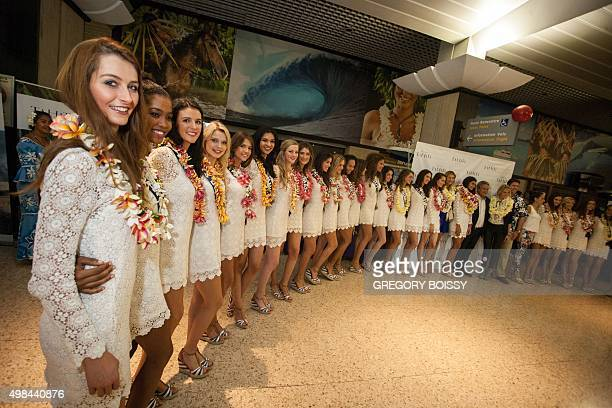 31 candidates for the Miss France 2016 contest pose after their arrival in Papeete French Polynesia on November 22 for a week of filming and photo...
