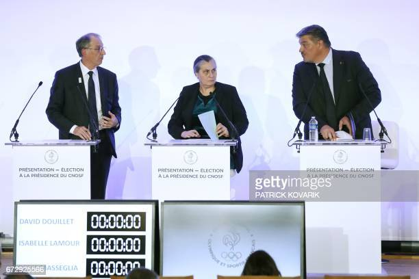 Candidates for the presidency of the French Olympic and Sporting Committee CNOSF Denis Masseglia Isabelle SpennatoLamour and David Douillet present...
