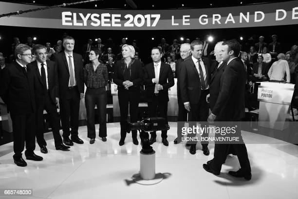Candidates for the presidential election farleft coalition La France insoumise JeanLuc Melenchon rightwing Les Republicains party Francois Fillon...