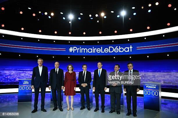 TOPSHOT Candidates for the rightwing Les Republicains party primaries ahead of the 2017 presidential election former French Agriculture minister...