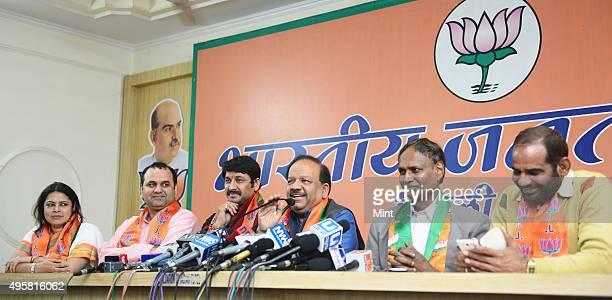 BJP candidates from Delhi Meenakshi Lekhi Maheish Girri Manoj Tiwari Dr Harsh Vardhan Udit Raj and Ramesh Bidhuri at Delhi BJP office on March 16...