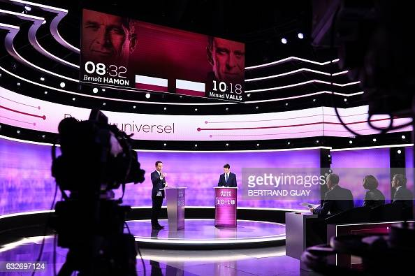 TOPSHOT Candidates in the leftwing primary for the 2017 French presidential election former French education minister Benoit Hamon and former French...