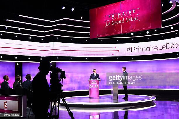 Candidates in the leftwing primary for the 2017 French presidential election former French education minister Benoit Hamon and former French prime...