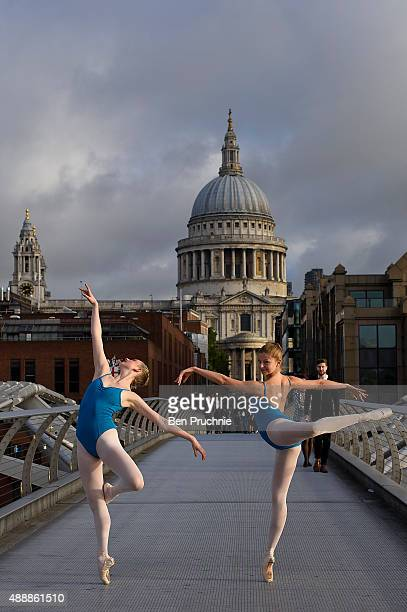 Candidates in the Royal Academy of Dance's Genee International Ballet Competition pose for photographs on Millennium Bridge on September 18 2015 in...