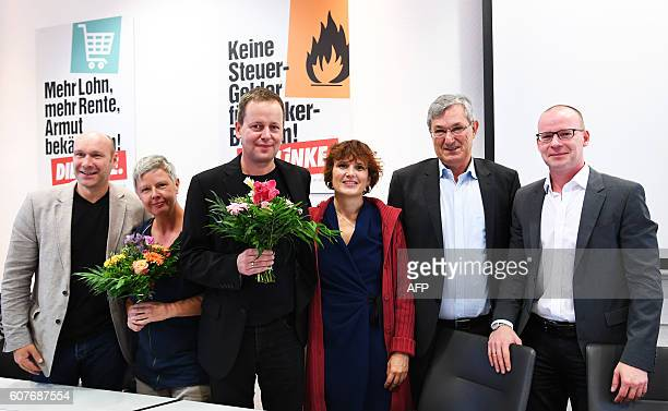 Candidates of the leftwing Die Linke party for a regional election in Berlin parliamentary group leader Udo Wolf regional manager Katina Schubert...