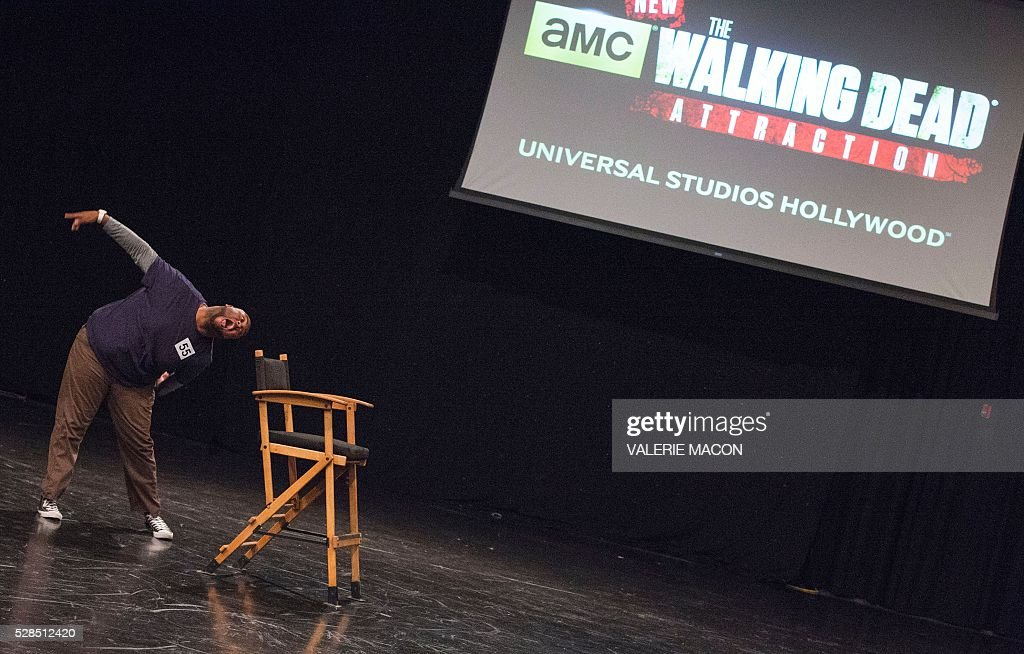 Candidates perform in front of the jury at The Walking Dead Casting Call Auditions for the future Walking Dead attraction at Universal Studios Hollywood, in Universal City, California, on May 5 2016. / AFP / VALERIE