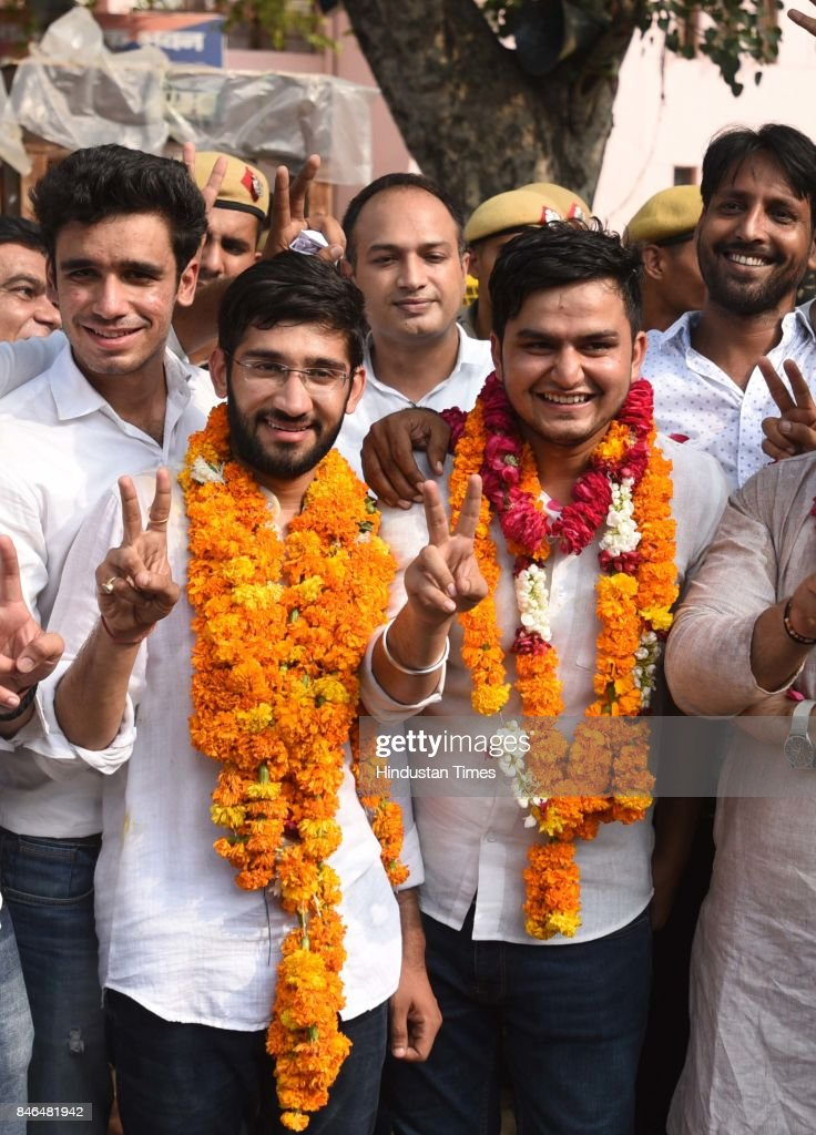 NSUI candidates Rocky Tuseed - President (2L) and Kunal - Vice President (L) celebrate after the result during the DUSU Election result at Arts Faculty in North Campus, Delhi University, on September 13, 2017 in New Delhi, India. Congress-backed National Students Union of India (NSUI) staged a comeback on the DU campus by bagging two posts - President and Vice-president - in Delhi University Students Union (DUSU) polls. The RSS-backed Akhil Bharatiya Vidyarthi Parishad (ABVP) which had won three seats last year, including that of the president, could only win posts of secretary and joint secretary.
