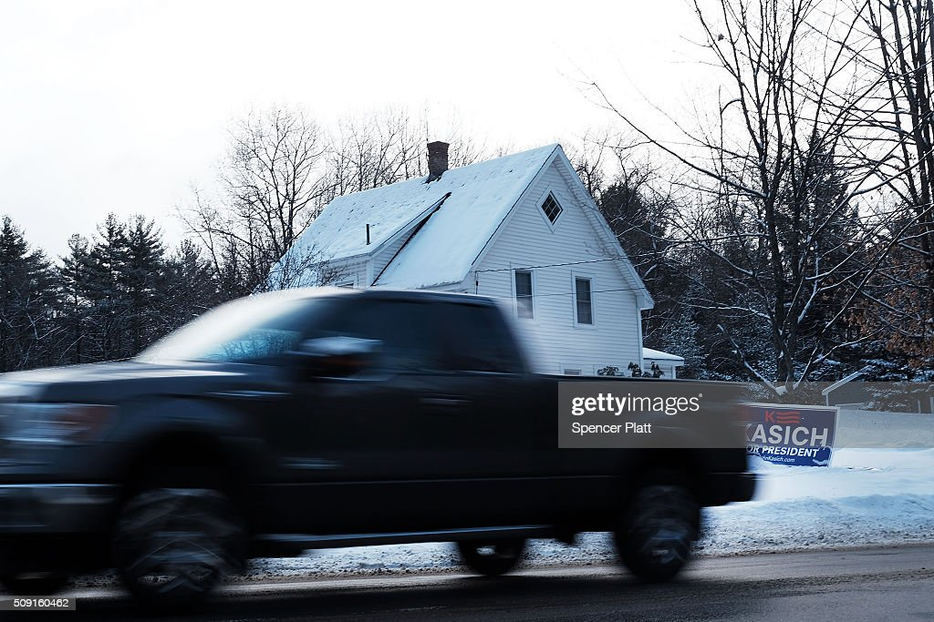 A candidates sign is displayed in front of a home on the day of the New Hampshire Primary on February 9, 2016 in Bow, New Hampshire. After months of campaigning, voters across New Hampshire get to go to the polls today to vote for Democratic and Republican presidential candidates. Following New Hampshire, the race for the presidency moves to South Carolina.